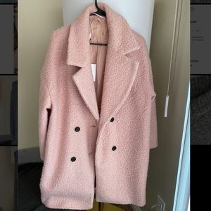 Pink blush double breasted coat - textured wool.